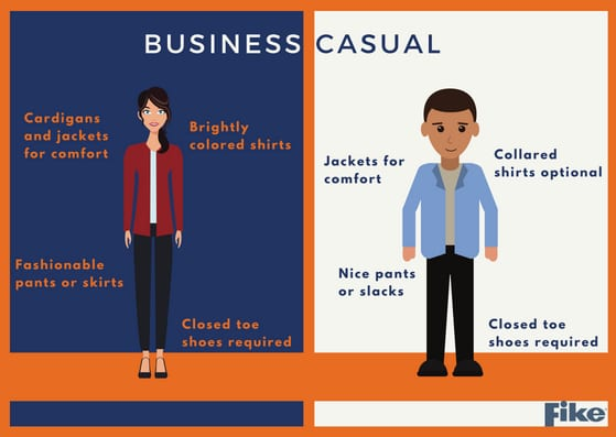 business casual infographic of dress requirements for Fike training courses