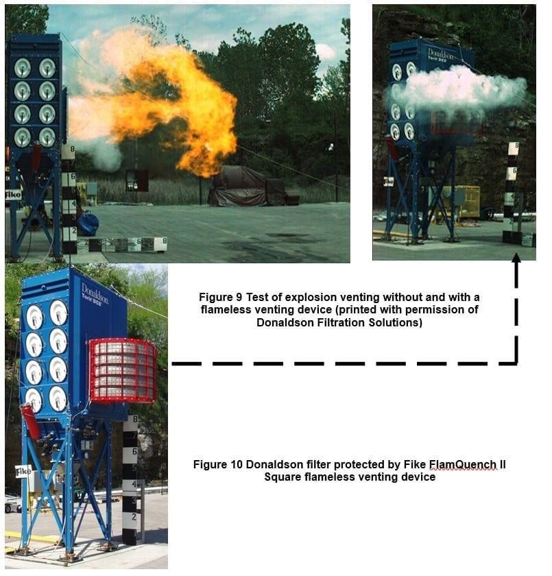 First photo shows a Donaldson Filtration Solution not utilitizing an explosion vent, second and third images are using Fike flameless venting device FlamQuench II square protecting Donaldson Filtration Solution