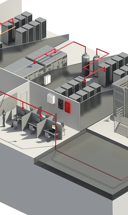 schematics of fire protection solutions in data centers are customized based on customer needs