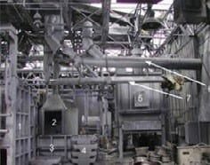 Damage after an aluminum dust deflagration: interior of facility (Chemical Safety Board, 2005)